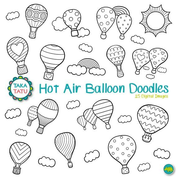 Hot Air Balloon Clipart Balloon Digital Stamp Balloon Etsy In 2021 Digital Stamps Doodle Frames Physics Doodles Hand Drawn