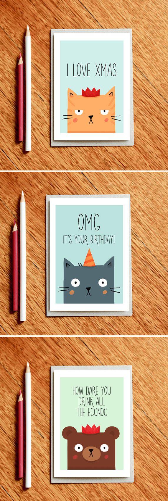 Cat Xmas Card - I Love Xmas - Cat Christmas card - funny xmas card | milkandcookies