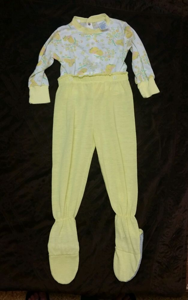 Vintage Carters Girls 2 Piece Footed Pajama Set size 2T 1970's