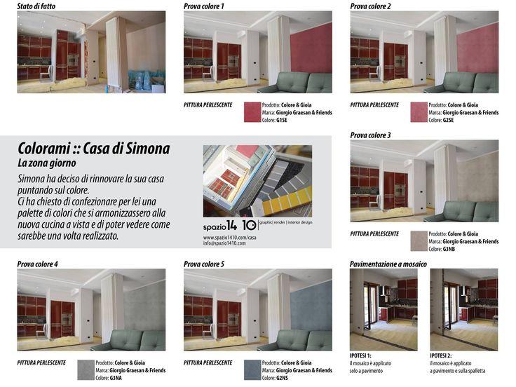 Casa di Simona :: La zona giorno ---Progetto cromatico con le pitture decorative di Giorgio Graesan & Friends