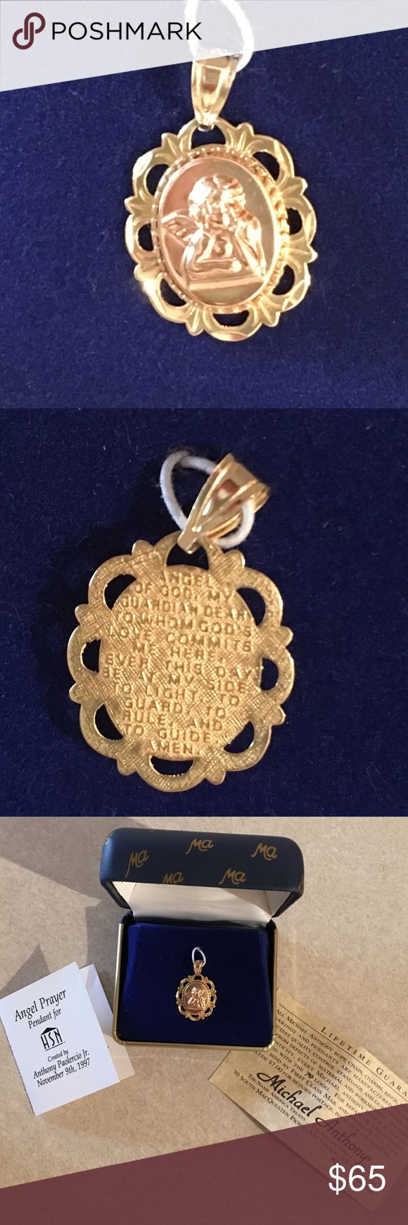 HSN 14Kt Gold Michael Anthony Angel Prayer Pendant Worn once, Like New in box with Certificate of Authenticity! From HSN 14Kt Gold Michael Anthony Angel Prayer Pendant. Beautiful Details! HSN Jewelry Necklaces