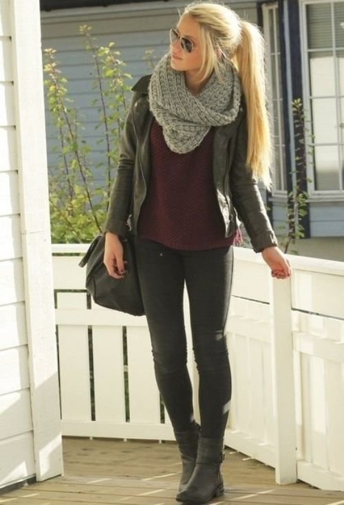 Leather leggings, combat boots, leather jacket. Need to get maroon shirt and gray scarf!