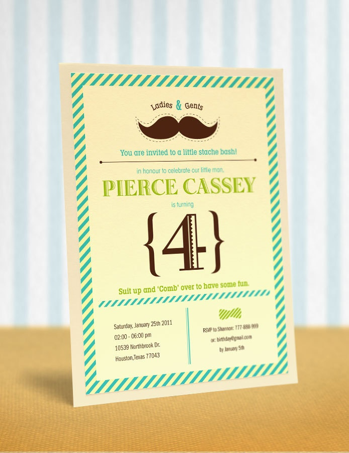 Moustache Little Man Birthday Party Invitation on Etsy.  I like the wording!