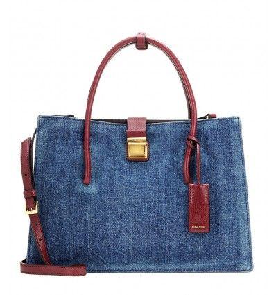 Blaue Handtasche aus Denim und Leder By Miu Miu