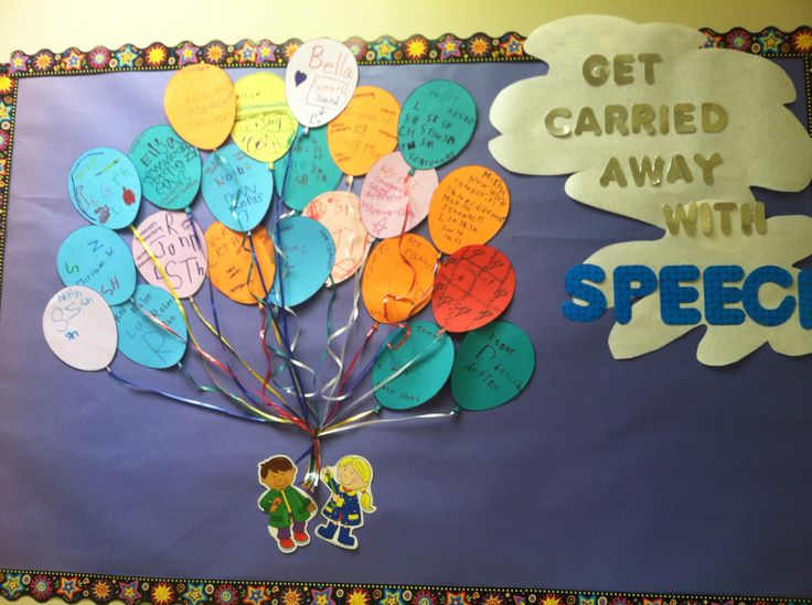 Speech therapy bulletin board. Have the kids write their speech goals on a balloon