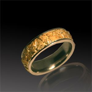 White Gold And Natural Nugget Men S Wedding Band Jewelry Bands Rings