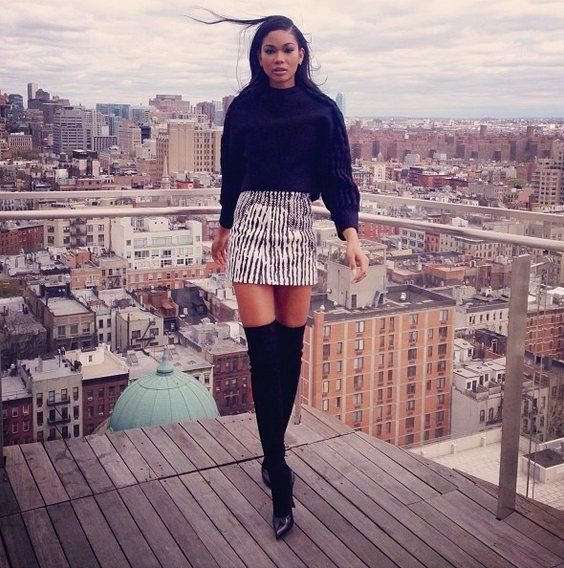 Pin for Later: These Stylish Instagrams Will Take You to Your Happy Place Chanel Iman Thigh-highs and a miniskirt made for one sexy look. Source: Instagram user chaneliman