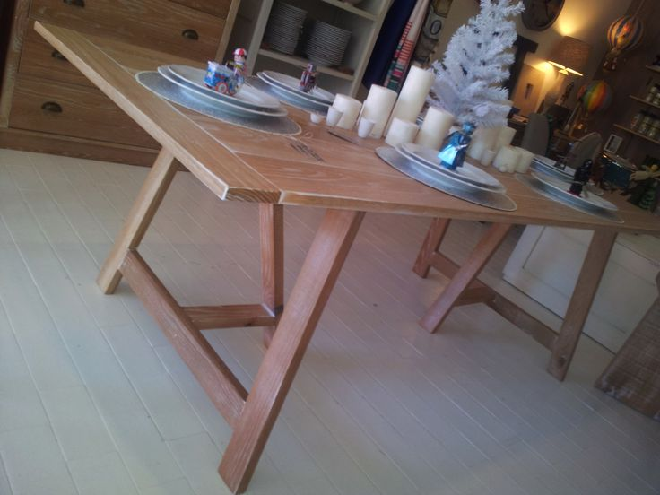 Trestle table in american oak with a white wash finish.