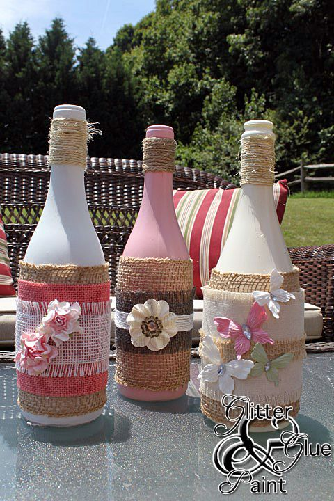 Wine bottles.... paint the bottle first! So then I can have a pop of yellow!