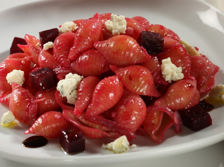 Barilla Medium Shells with Sea Salt-Roasted Beets, Caramelized Purple Onions and Crumbled Gorgonzola Cheese