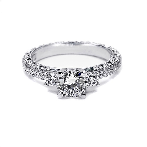 Tacori-Give a three-stone diamond engagement ring something extra with radiant lines of pave along the shoulders of the band. Tacori's signature crescent silhouettes are accentuated with diamond details along the sides of the ring.