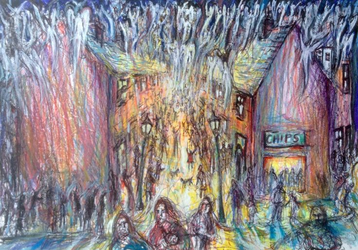 Long Row, The Night The Angels Came Down, neocolor and pen on card, Wakefield Artist Tim Burton.