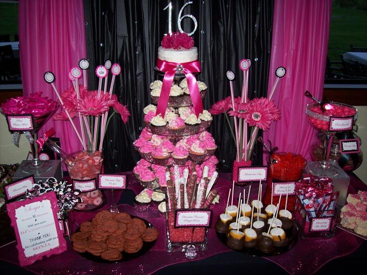 Hot Pink Cupcakes Hot Pink Candy Buffet Hot Pink Dessert
