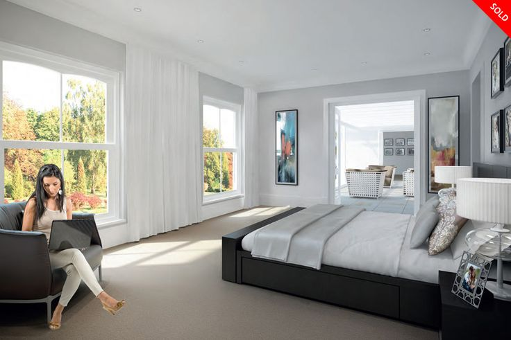 Edgehill House interior. This is the bedroom upstairs with large windows for plenty of natural lighting. The design is modern and classic to create a luxury lifestyle feel.