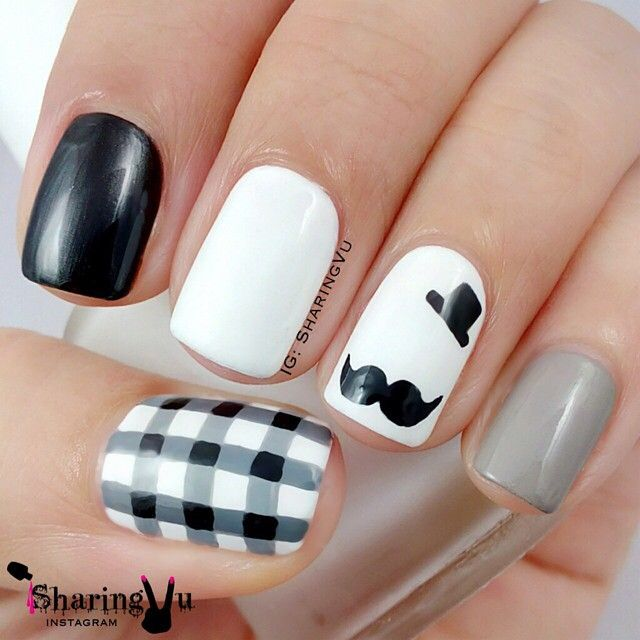 White base, Black, grey, mustache, nail art, top hat, accents, skittle, stripes,