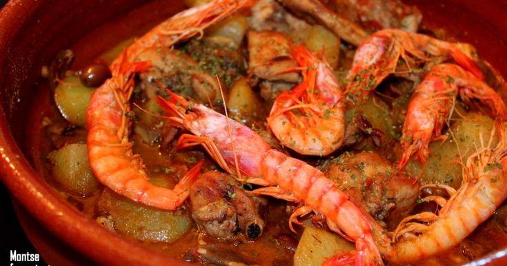 I ngredients:    1 conill tallat a trossos  8 gambes  3 alls  3 tomacons  1/2 copeta de vi ranci  1/2 copeta de vi dolç  1 got de brou...