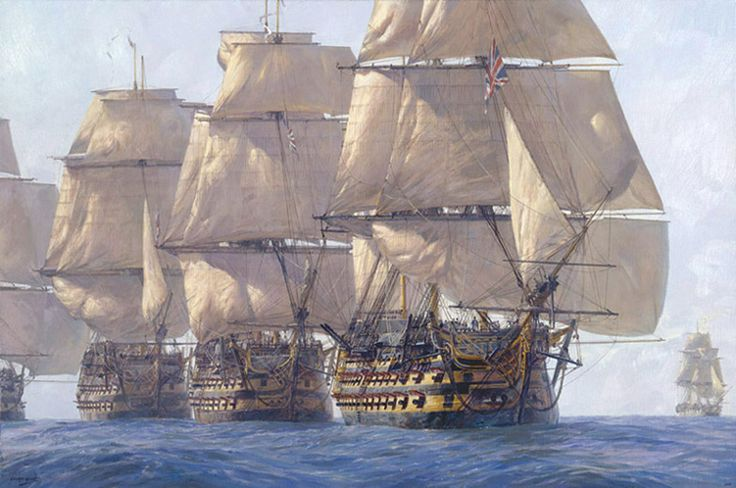 """""""The Heavyweight Punch,"""" by Geoff Hunt. """"HMS Victory,"""" """"HMS Temeraire"""" and """"HMS Neptune"""" leading the line at Trafalgar on Oct. 21, 1805."""