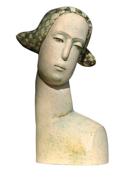 "Stella Zadros, ceramic sculpture- ""Head of towns woman"" from The Magical Krakow series, 2007, 65 cm (h), www.stellaart.com"