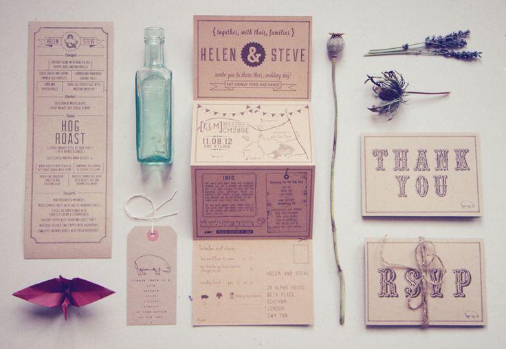 Helen + Steve's Country Inspired Kraft Paper Wedding Invitations | Design and Photo Credits: Bridges & Eggs