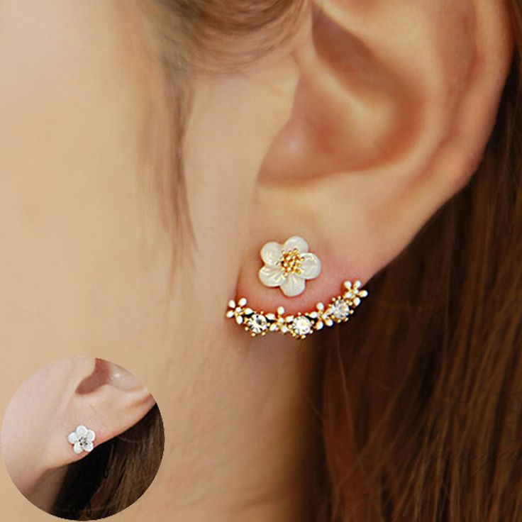 Flower Crystals geometry Stud Earring for Women Rose gold color Double Sided Fashion Jewelry Earrings female Ear brincos Pending