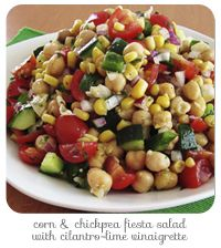 Corn and Chickpea Fiesta salad with Cilantro-Lime Vinaigrette.  Ok, so I am not a fan of cilantro, but I think I could adjust this recipe to my tastes.