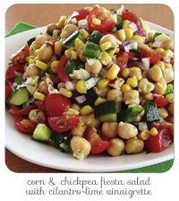 Corn & Chickpea Fiesta Salad with Cilantro-Lime Vinaigrette