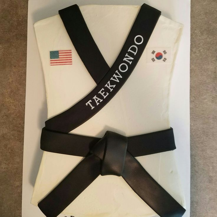 Taekwondo black belt cake! Like us on Facebook at Gearhart Custom Cakes