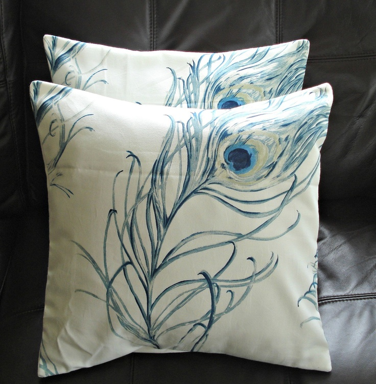 Throw pillows peacock blue indigo feather design cushion shams UK designer fabric covers two 18 ...