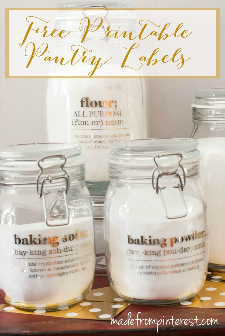 Free Printable Pantry Labels. Organize your pantry with these free printable pantry labels and make them pretty by adding foil with the Minc…