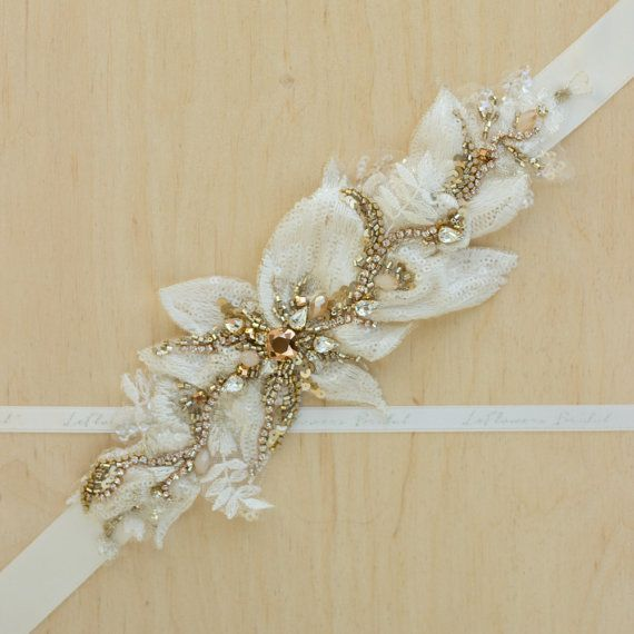 Sash ceinture nuptiale mariage ceinture Rose or par LeFlowers