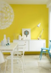 Painted dining room in Little Greene paint colours 'Trumpet' and 'Tropez  Blue'
