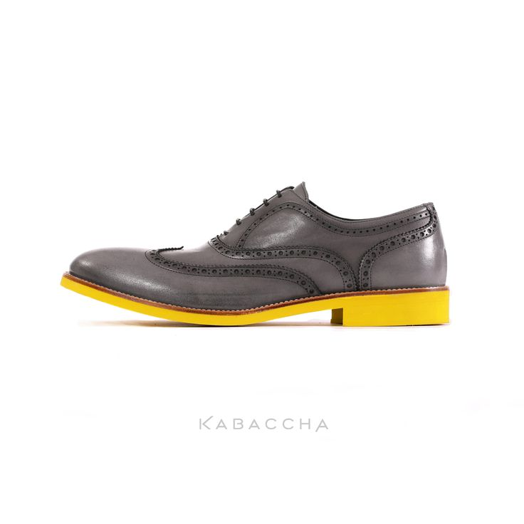 Kabaccha Shoes // Grey Nappa Leather & Yellow Sole Wingtip #KabacchaShoes #Wingtips