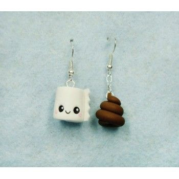 Paper & Poop Kawaii, earrings,pendientes,fimo,caca,papel higiénico,kawaii,
