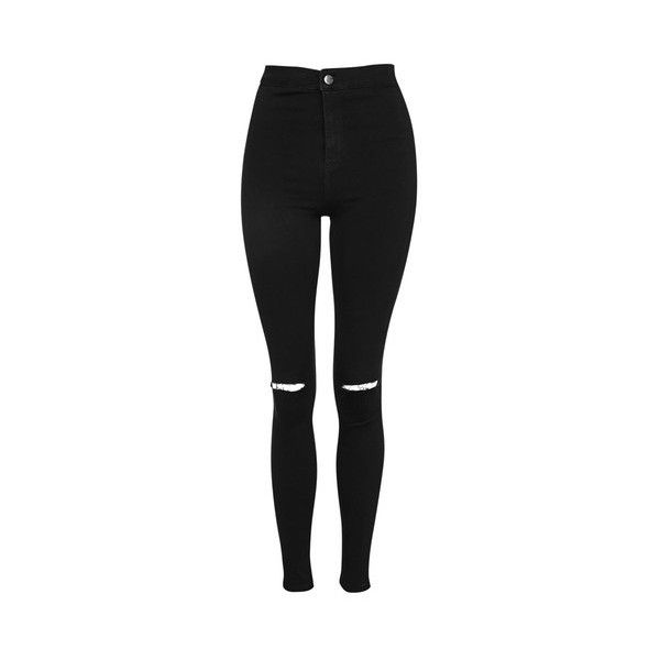 Topshop Petite Black Rip Joni Jeans (63 CAD) ❤ liked on Polyvore featuring jeans, black, high waisted distressed skinny jeans, high-waisted skinny jeans, destroyed skinny jeans, ripped skinny jeans and stretch skinny jeans