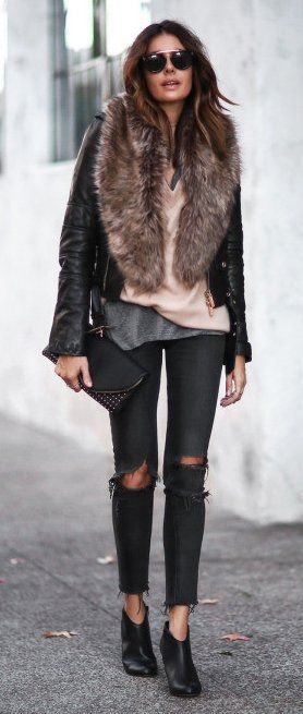 #winter #fashion / Leather Bomber Jacket / Faux Fur Scarf / Destroyed Skinny Jeans / Leather Booties
