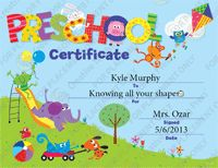 Such a cute Preschool certificate for graduation! They have a free template too!