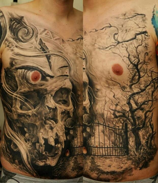 crazy skull graveyard scene tattoos pinterest scene. Black Bedroom Furniture Sets. Home Design Ideas