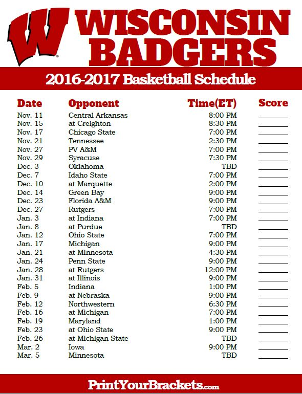 Wisconsin Badgers 2016-2017 College Basketball Schedule