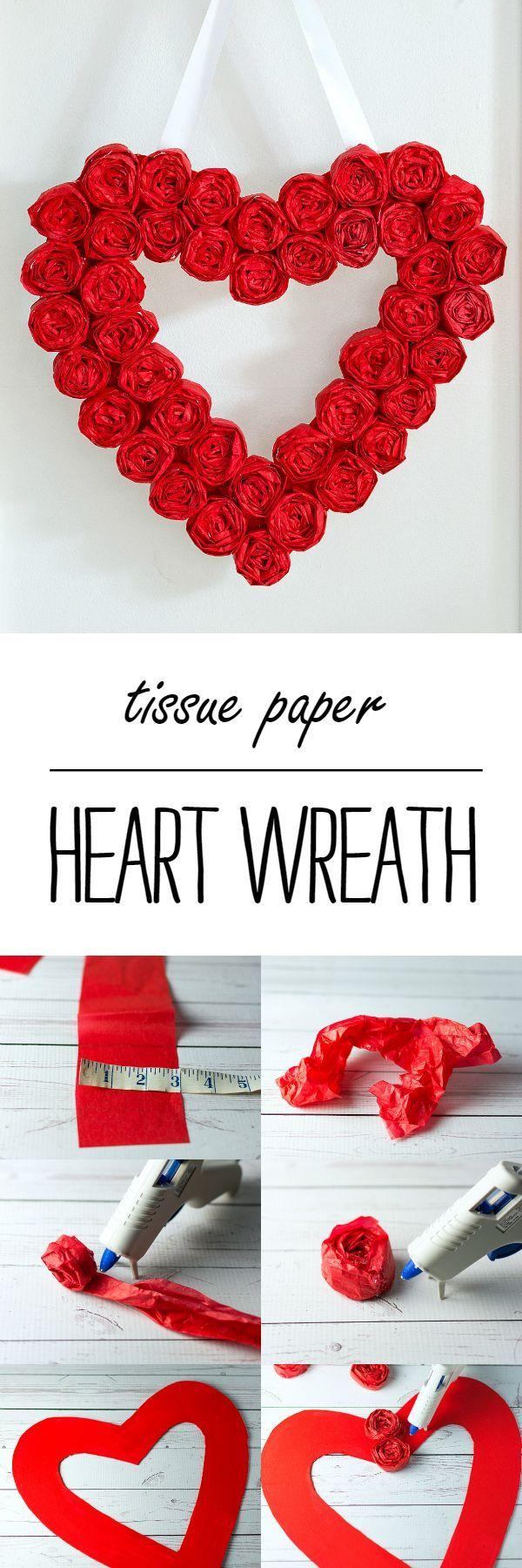 Valentine Wreath Craft Idea - Easy to Make Tissue Paper Rosette Wreath for Valentine's Day