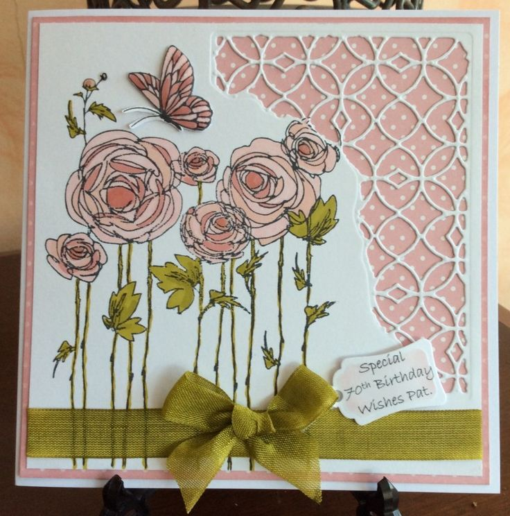 70thBirthday Ranunculus by Michele G - Cards and Paper Crafts at Splitcoaststampers