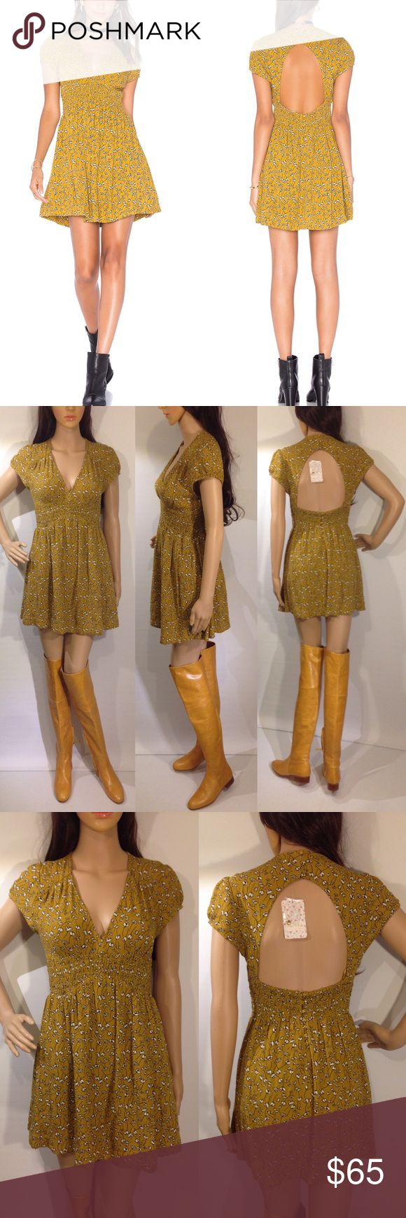"📛SOLD📛NO LONGER AVAILABLE Free people pretty baby dress. New with tags. Wide panel of smocked elastic defines the waist. Buttons secure the cut out back, and cinched cap sleeves. On seam hip pockets. Lined skirt. 100% rayon. Length 30"" approx. Mustard color Free People Dresses Mini"