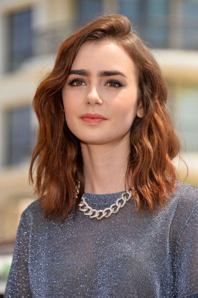 Lily Collins promoting Mortal Instruments. Makeup by Kayleen McAdam...