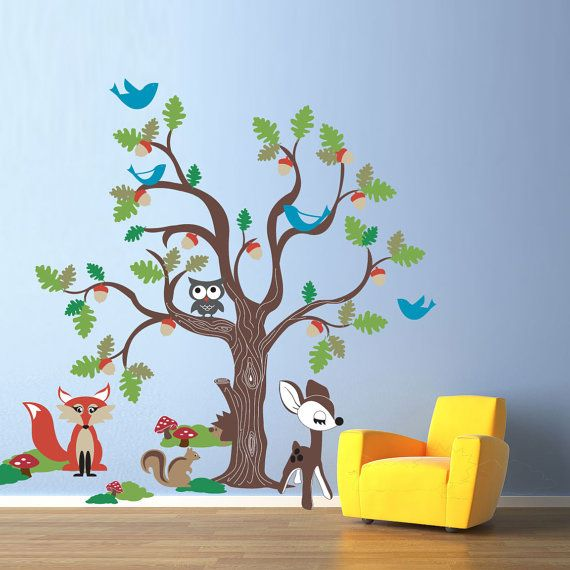 Vinyl Wall Decal Sticker Art - Oak Tree and Woodland Animals - Extra Large Nursery Mural