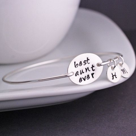 georgiedesigns - Sterling Silver Best Aunt Ever Bangle Bracelet, Personalized Jewelry
