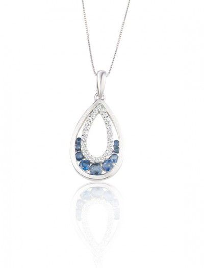 White Gold Sapphire & Diamond Necklace - Available at Onyx Goldsmiths