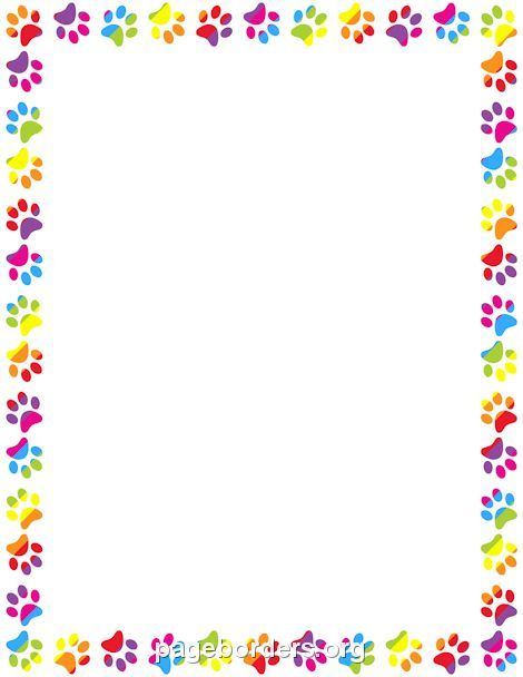 Printable rainbow paw print border. Use the border in Microsoft Word or other programs for creating flyers, invitations, and other printables. Free GIF, JPG, PDF, and PNG downloads at http://pageborders.org/download/rainbow-paw-print-border/