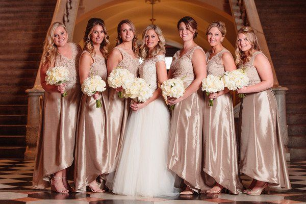 Kim And Michael S Wedding In Columbus Ohio Metallic Bridesmaid Dresses Beautiful Bridal Dresses Bridesmaid