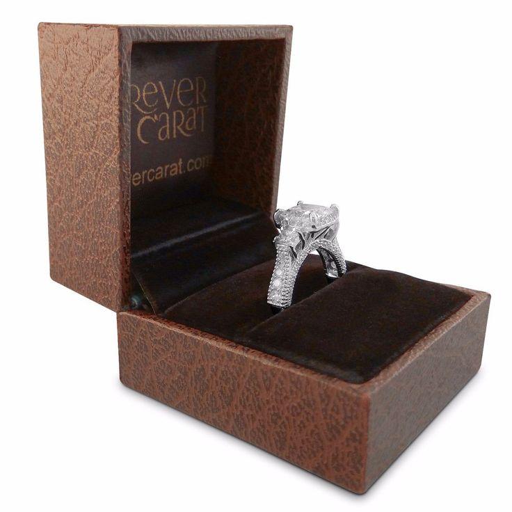 Princess 2.30 Ct Diamond Wedding Band 18K White Gold Diamond Engagement Ring AS3 #CaratForever