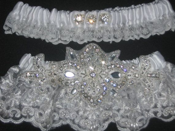 White Wedding Garter Set Lace Bridal Garters With Rhinestones Crystals Bling Country Vintage Rustic Winter Bride