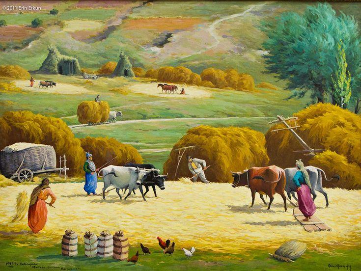 Ahmet Yakupoğlu (Turkish, 1920 - …), Kütahya Ahırardı Harmanları (Harvesting the Fields Behind the Stables in Kütahya)